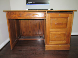 Solid Wood Construction DESK with Cabinet for Files or Printer