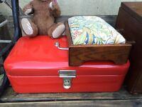 Vintage original bread bin enamel box