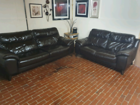 Dfs 3+2 seater brown real leather sofa's