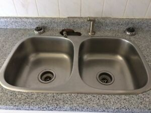 Kitchen double-sink, stainless steel