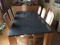 Granite top dining set and matching side board