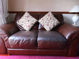 3 Brown Leather Sofas (One 3 seater and Two, 2 seaters)