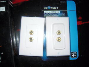 ce tech speaker wall plate with 2 binding posts
