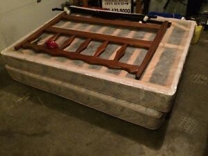 Queen size bed, headboard and bed rails