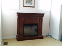 Electric fireplace in cabinet