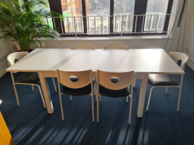 Extendable white Dining Table with 6 chairs