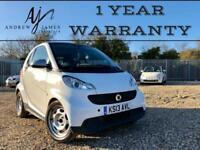 2013 SMART FORTWO PURE 61 MHD 1.0 AUTOMATIC WHITE ☆ LOW MILES ☆ 1 YEAR WARRANTY!