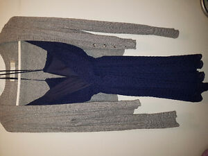 Navy blue dress with sweater