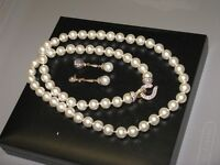 Beautiful Simulated Pearl Necklace and Earings