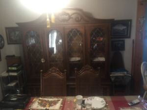 Older table 6 chairs and hutch set