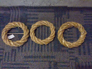 Set of 3 decorative straw wreaths hanging New with tags