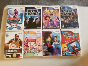 Wii games rock band, zumba, nba and more