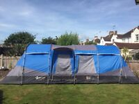 Gelert Meridian 8 man tunnel tent with porch, footprint and carpet - great used condition