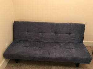 Suede Blue futon couch / sofa