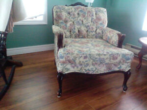 Attractive matching French Provincial coach and chair