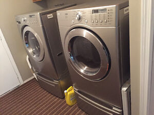 Lg front load washer and dryer with pedestals