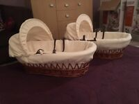 Clair de lune brown wicker Moses basket with cream waffle