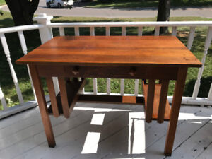 Antique mission library desk with chair