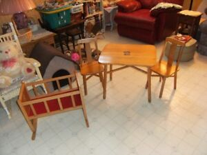 Children's table + chairs set and doll crib
