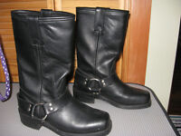 BLACK LEATHER BOOTS LADIES SIZE 8