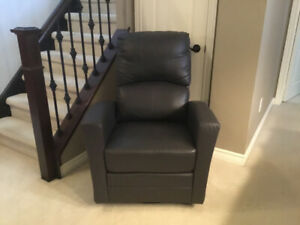 Grey Leather Glider and Swivel Chair
