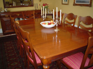 ANTIQUE DINING TABLE & 10 CHAIRS - WALNUT - RESTORED