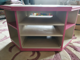 Pink and Cream Painted TV Corner Unit Barker and Stonehouse