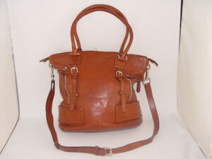 Genuine Leather Large Cole Haan Cross Body Bag Purse  Brown