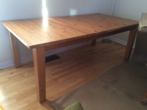 SOLID WOOD IKEA DINING TABLE WITH TWO LEAVES