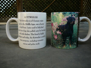 Rottweiler mugs, Rottie coffee mugs, Rottweiler cups, Poodle