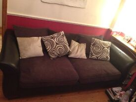 Lovely Black & Brown Leather & Fabric 4 Seater Sofa (with pillows)