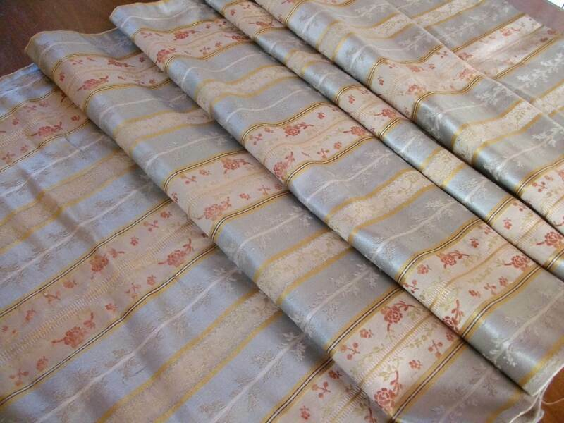 """Antique French Silk Lieré Brocade Fabric Panel   80"""" long x 26""""wide"""