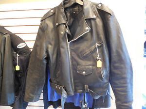 Old school black leather jacket @recycledgear.ca Kawartha Lakes Peterborough Area image 1