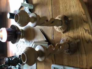 Hand craved wooded candle holders
