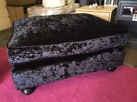 New Laurence Llewelyn-Bowen Scarpa Footstool In A Crushed Velvet-Style Fabric in Black