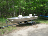 14ft Aluminum Boat with 9.9 and trailer