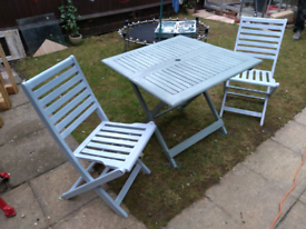 25708912d2eb Teak garden set. Table & 2 chairs. Newly painted.