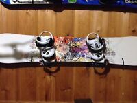 Complete snowboard set used once