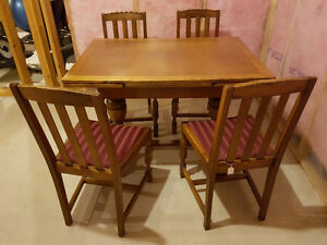 Solid Oak Antique dining table & chairs