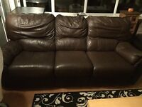 MOVING MUST GO! 2x 3xseater chocolate brown leather recliner sofas