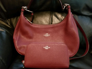 Burgundy Leather Coach Set