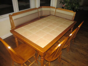 Wood Kitchen Dining Table Tile Top, Bench Storage, 4 Chairs