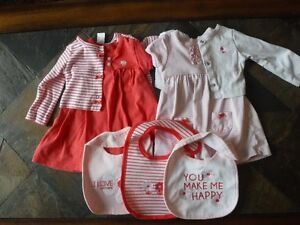 2 bodysuit dresses and cardigans with matching bibs