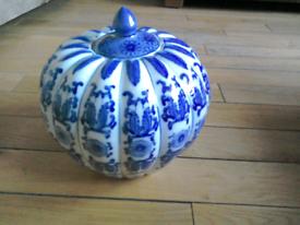 Blue and white pumpkin ginger jar.