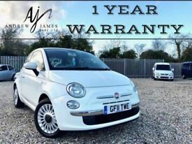 2011 FIAT 500 1.2 LOUNGE WHITE ☆ NEW MOT ☆ B/TOOTH ☆ PANO ROOF ☆ JUST 26K MILES!