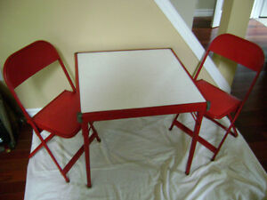 Vintage childs' folding table and chairs