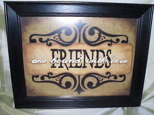 "Wooden Framed ""Friends are bound with love "" picture"