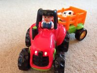 ELC Happy Land Tractor & Trailer with Farmer & Cow