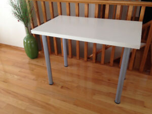 White IKEA Table with Grey Legs