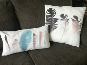 Decorative feather throw pillows